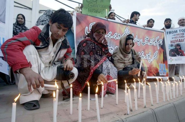 Protest against bomb blast at a grocery market of Hazara Town Quetta